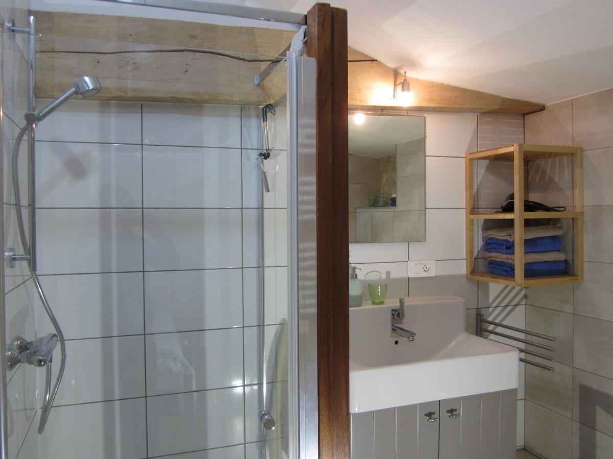 badkamer met ruime luxe douche