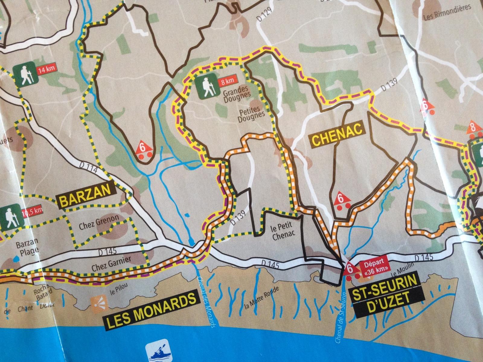 Kaart wandelroute-mountainbiken-fietsen Le Petit Chenac gîtes & chambre d'Hôtes