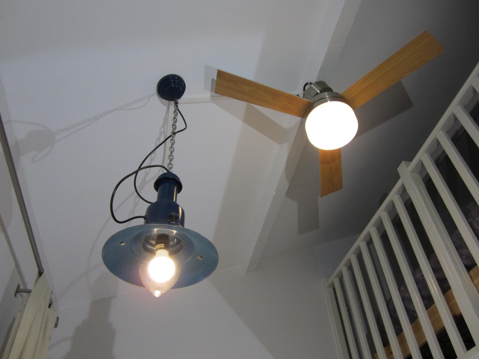 Schipperslamp en geruisloze plafondventilator
